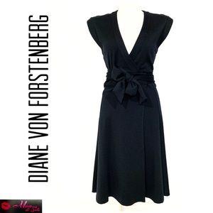 DVF Classic Black Wrap Sleeveless Dress